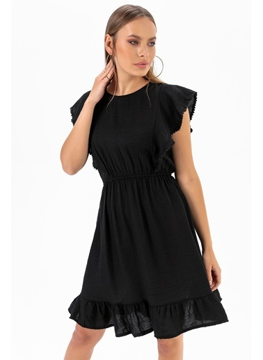 Emjey Volanlı Elbise Siyah